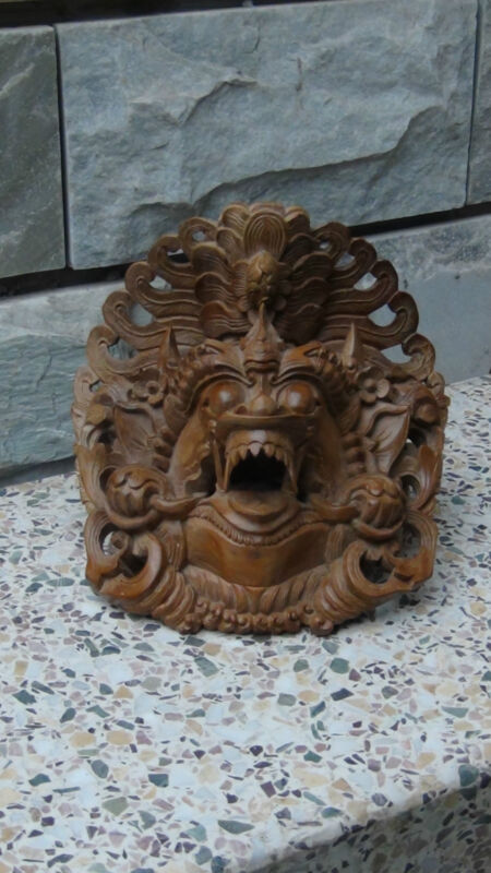 ANTIQUE 19C CHINESE TEAKWOOD HAND CARVED DRAGON RITUAL MASK CROWN OVER THE HEAD