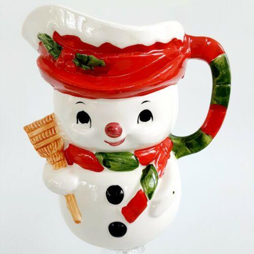 "Vintage Relpo Snowman Pitcher Creamer Jug 5"" Tall Christmas Table Decor"