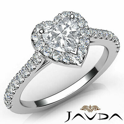 Halo French Pave Set Heart Diamond Engagement Wedding Ring GIA F Color VVS2 1Ct 10