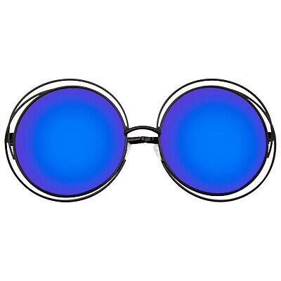 Runde Sonnenbrille Retro Indie Doppel Metall Übergröße Verspiegelte Linse