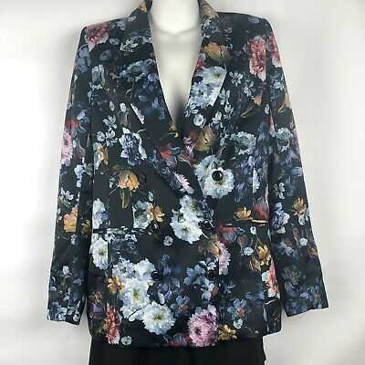 H&M Blazer Woman's 4 Floral Double Breasted Satin Lined Jacket Welt Front Pocket