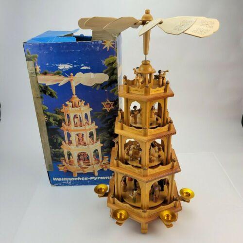 German Weihnachts Pyramide 4-Tier Christmas Nativity Pyramid Carousel 7963 *SEE*