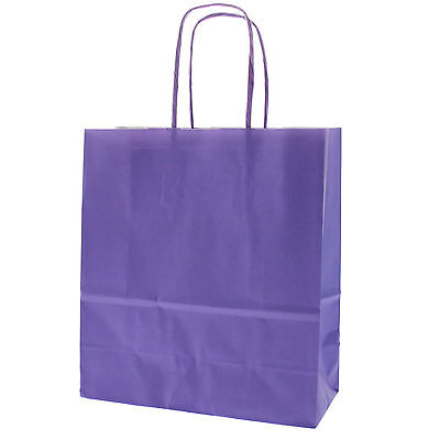 Purple Party Paper Carrier Bags With Twisted Paper Handles - Size 20 X 18 X 8