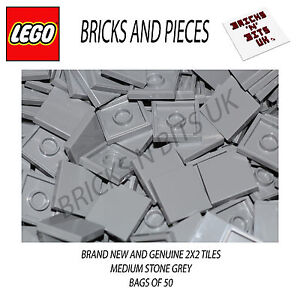 LEGO 2X2 TILE 3068 MEDIUM STONE GREY BAG OF 50, CITY, STAR WARS, CREATOR, HEROES