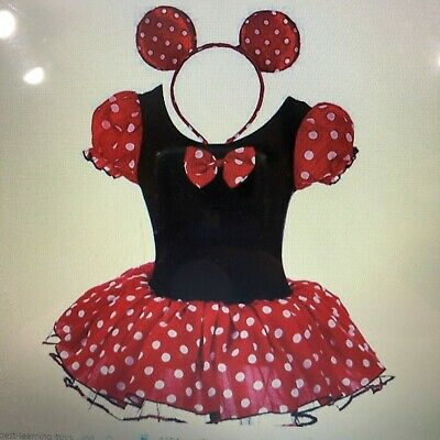 Christmas Minnie Mouse Costume (Girls' Minnie Mouse polka Dots Halloween Christmas Fancy Dress Dance Costume)