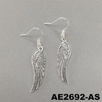 Religious Angel Wings Design Silver Finish Drop Dangle Hook Earrings AE2692-AS