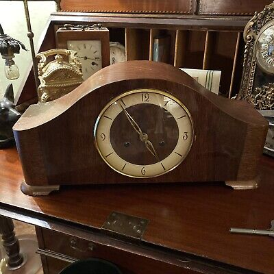 Rare Art Deco German Oak & Mahogany Striking Ting Tang Mantle Clock c1950