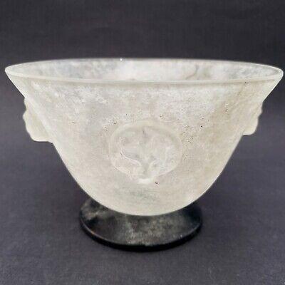 "Scavo Bowl - Scavo Glass Bowl With Lion Heads Sarreid Ltd. Importer Murano Italy 6.5"""