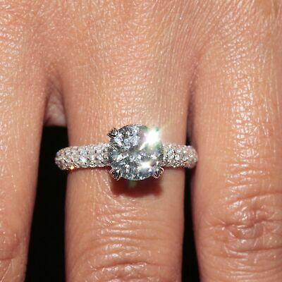 GIA Certified Diamond Engagement Ring 2.32 CT Round Cut 18k White Gold Flawless