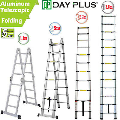 10.512.516.5ft Aluminum Ladder Fold Extend Telescopic Loft Office Garden Tool