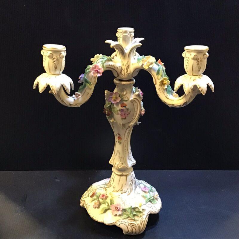"""Dresden Porcelain Candelabra 3 Candle Carl Thieme of Potschappel German ~14""""tall"""