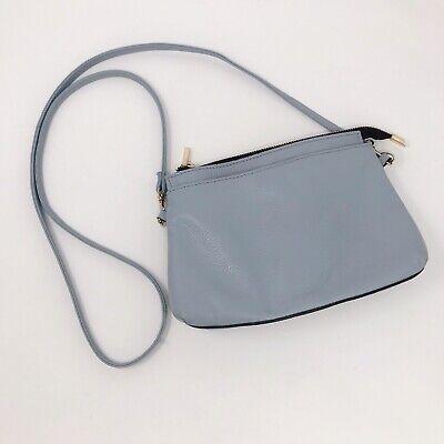 A Bellucci Womens Crossbody Handbag Purse Clutch Leather Made Italy Light Blue