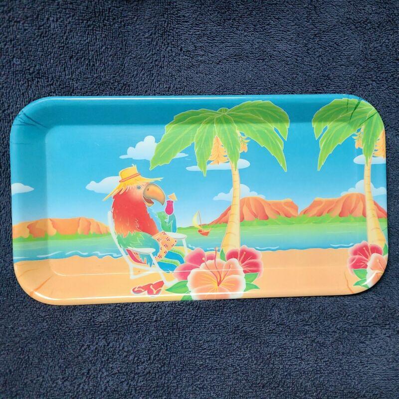 "Plastic Tray Tropical Bird Design 11 3/4""x 6 1/2"""
