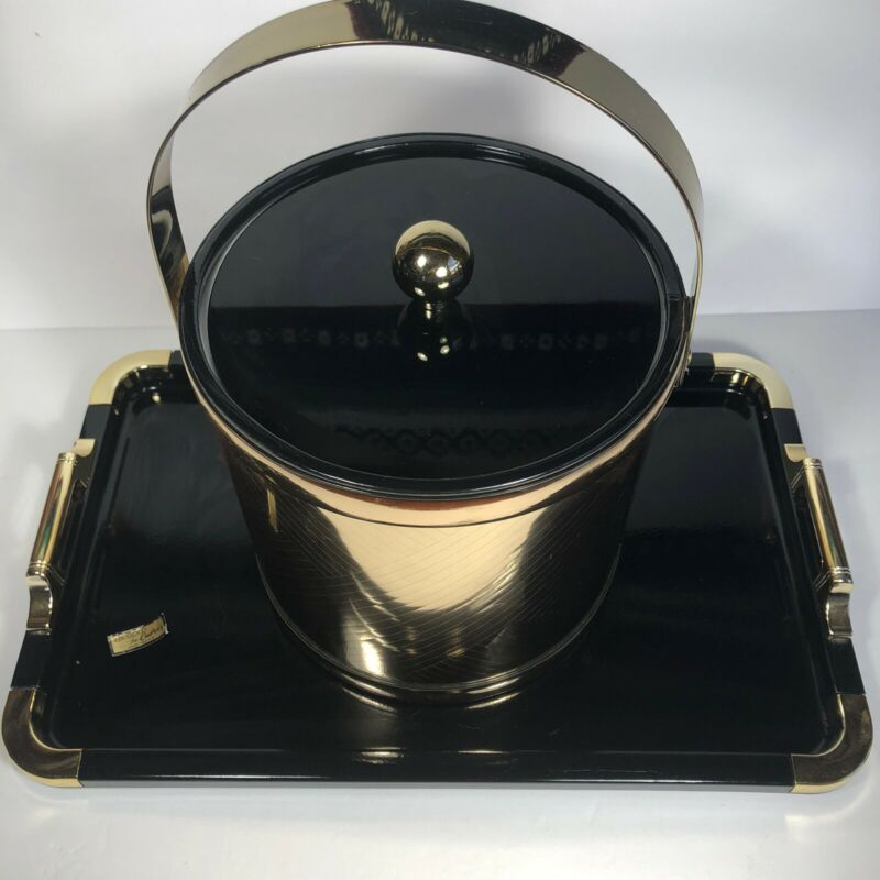 Culver 22k Gold Mid Century Modern Gold Band Ice Bucket and Black Gold Tray