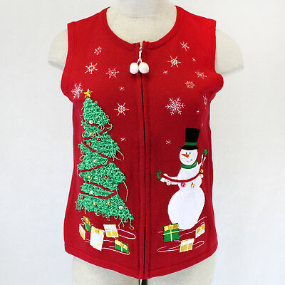 Ugly Sweater Vest (New Sophia&Jayne Ugly Sweater Vest Christmas Tree Snowman Plus Red 2X Retail)