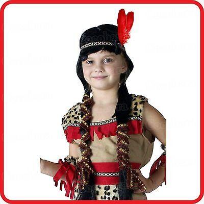 Child Pocahontas Wig - KIDS GIRLS NATIVE INDIAN PRINCESS SQUAW POCAHONTAS LONG PLAITS WIG-COSTUME