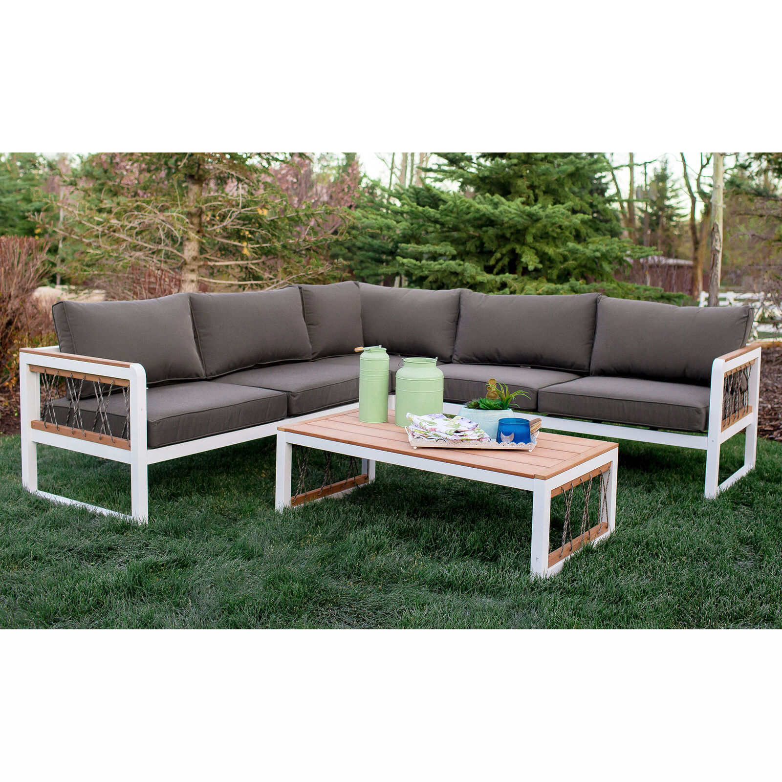 Walker Edison Oaw4scrpwg 4 Piece Outdoor Sectional With Cord Accents