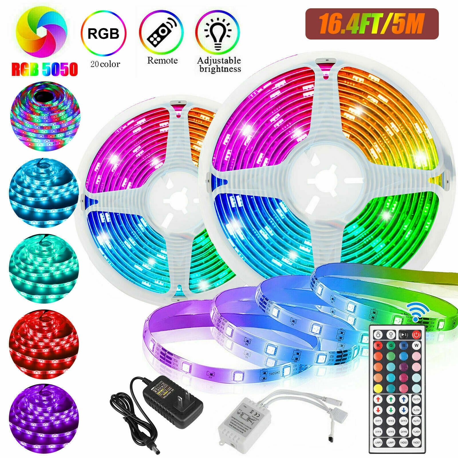Led Strip Lighting 10M 32.8 Ft 5050 RGB 300 LEDs Flexible Color Changing Light Home & Garden