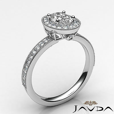 Milgrain Edge Pave Bezel Set Halo Oval Diamond Engagement Ring GIA F VVS2 1.21Ct 1