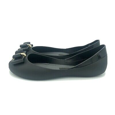 Melissa Women's Sweet Bow Jelly Flat Shoes Black Ballerina Size 8