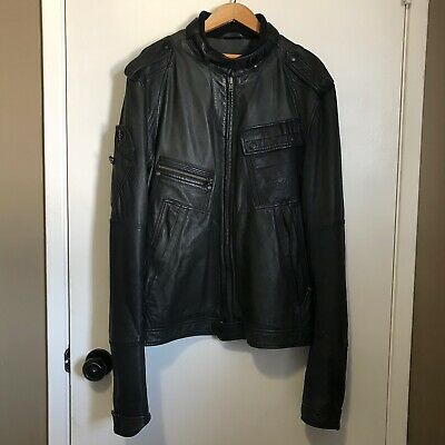 Diesel Leather Jacket XL Men Lamados Jacket Black Moto