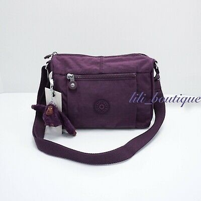 NWT Kipling HB6555 Wes Crossbody Shoulder Bag Purse Nylon Purple Verbena Tonal