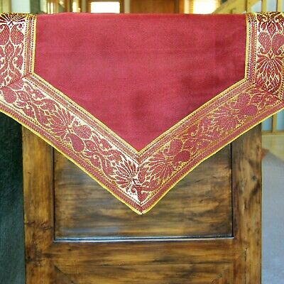 RED AND GOLD 72 BY 13 INCH TABLE RUNNER WITH BROCADE BORDER