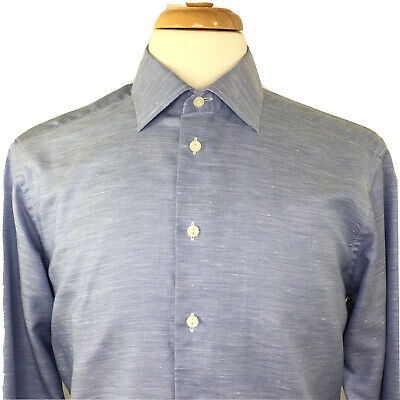 Eton Blue Poplin Dress Shirt Size L 16.5 Slim Fit Cotton & Linen Mens