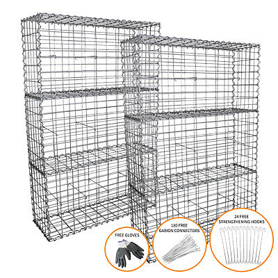 Gabion Baskets Outdoor Cages Stone Wire Mesh Planter / 100 x 50 x 30cm / 6 Pack