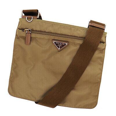 PRADA Logos Shoulder Bag Brown Nylon Canvas Italy Vintage Authentic #TT601 Y