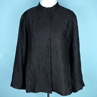 ✦ EILEEN FISHER Textured Crinkled Snap Front Silk Jacket Size Large