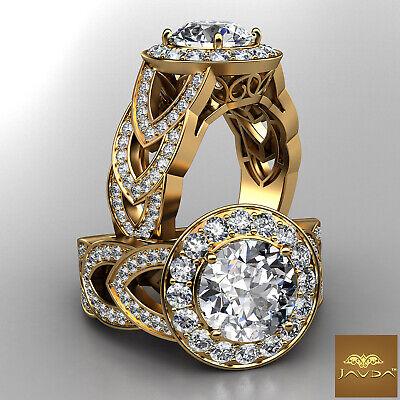 Halo Round Diamond Engagement V Shaped Split Shank Pave Ring GIA I VS2 2.75 Ct