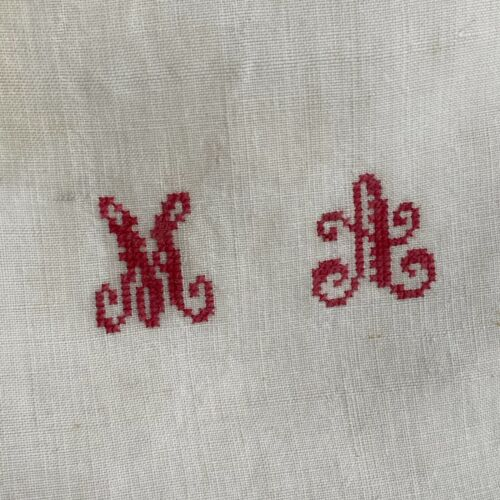 GREIGE MA monogram  HEAVY antique French linen sheet NUBBY heavy