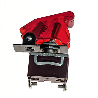 Industec Race Car Toggle - Switch 12v Dc Red Aircraft Flip Safety Cover 10a Nos