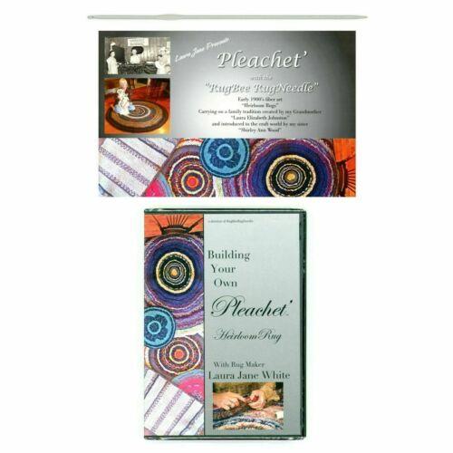Pleachét Rug Needle, Book, DVD Instruction. Pleat Fabric - Crochet a Rug