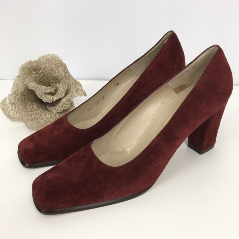 Vintage Bruno Magli suede burgundy chunky heels pumps women's 8.5 AA shoes