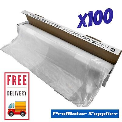 100 x DISPOSABLE PLASTIC CAR SEAT COVERS VEHICLE  MECHANIC VALET ROLL