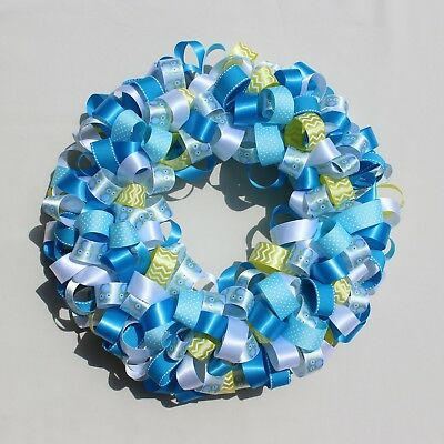homemade baby blue ribbon wreath with owls
