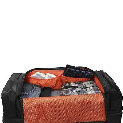 NEW BLACK PATHFINDER GEAR 26 DROP BOTTOM ROLLING WHEELED DUFFEL BAG DUFFLE  - $149.95