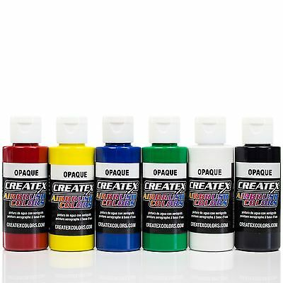 Createx Airbrush Farben Set 6x 60ml *Basis Opak Airbrushfarben Acrylfarben