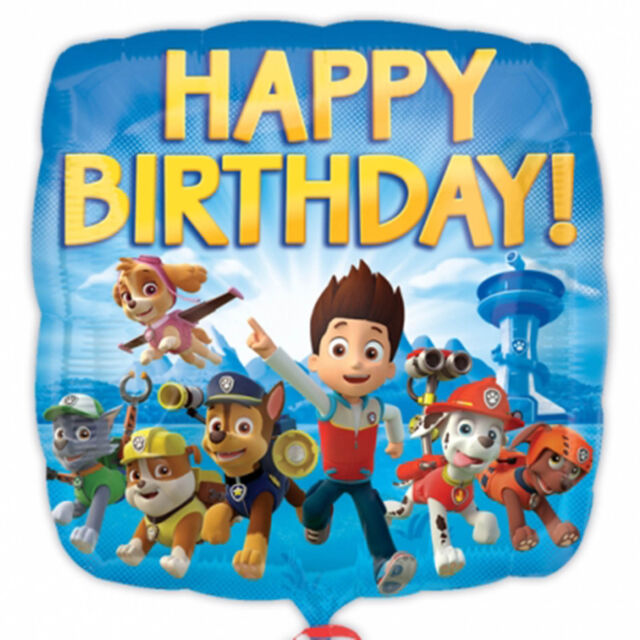 """18"""" Paw Patrol Puppy Pets Children's Happy Birthday Party Square Foil Balloon"""