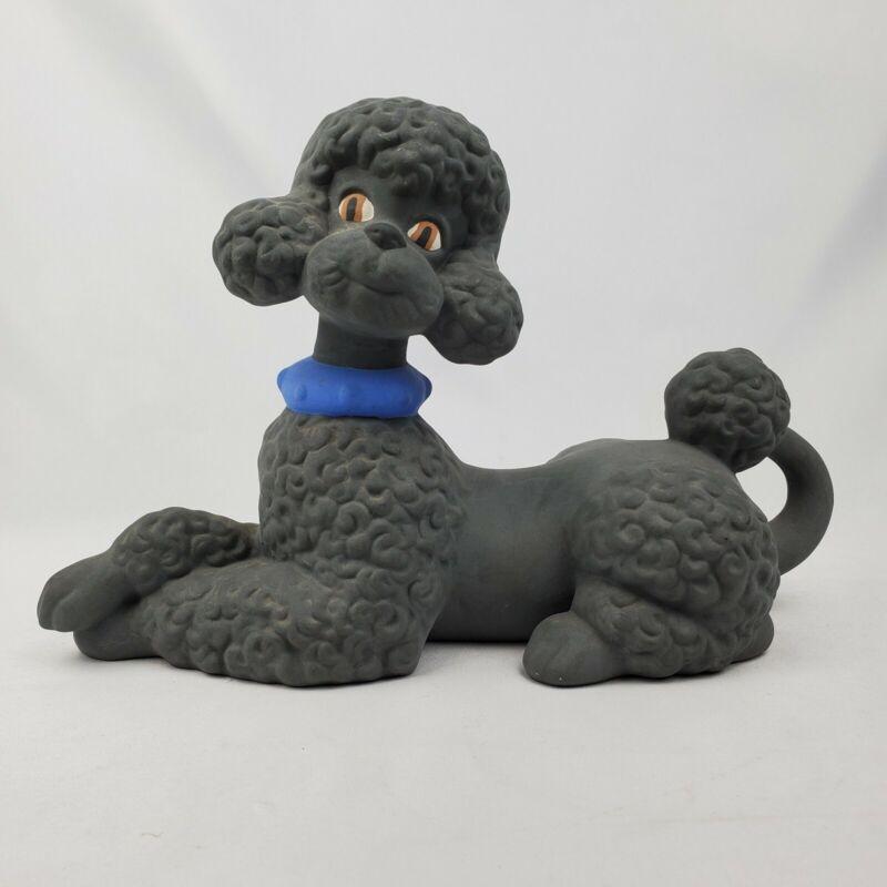 """Vintage Atlantic Mold Poodle Large Ceramic Black Dog Figurine Blue Collar 11.5"""""""