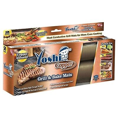 2 Grill And Bake Mat BBQ Grilling As Seen On TV Yoshi Copper Reusable Non-Stick
