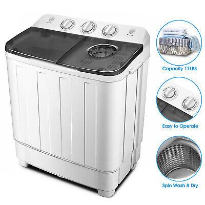 Portable 17lbs Mini Washing Machine Twin Tub Top Load Compact Washer Spin/Dryer