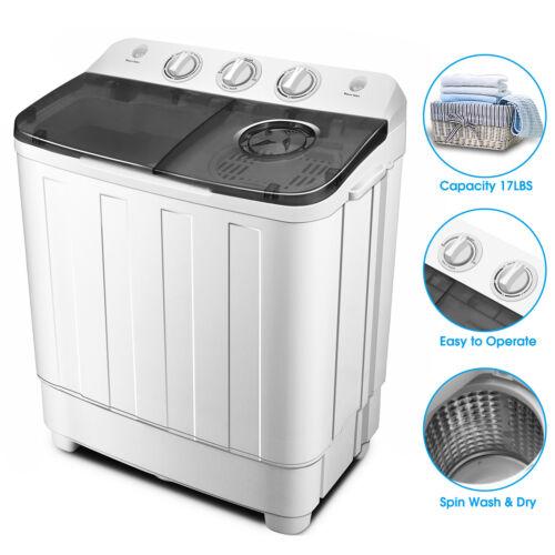 Portable 17lbs Mini Washing Machine Twin Tub Top Load Compac