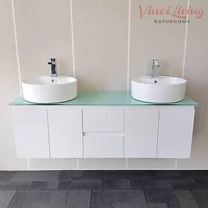 CRAZY SALE! 1.5M Bathroom Vanity Aqua Glass Top + Ceramic Basins Underwood Logan Area Preview