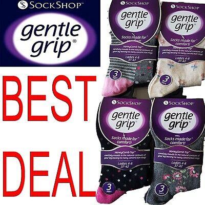 LADIES WOMENS  Gentle Grip Socks Non Elastic Soft Top Diabetic COTTON -  lot