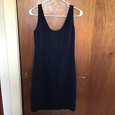 Genny Made 38 In Italy Little Black Dress Slit Bottom Silk Square Back EUC