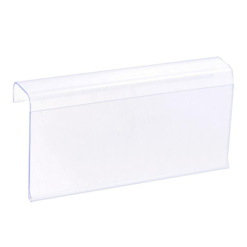 Label Holder L Shape 100x50mm Clear Plastic for Wire Shelf, Pack of 30