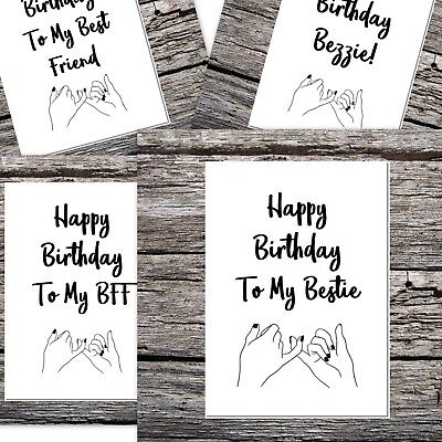 funny happy birthday card curly font to my best friend BFF bestie pinky (Happy Birthday Card My Best Friend)